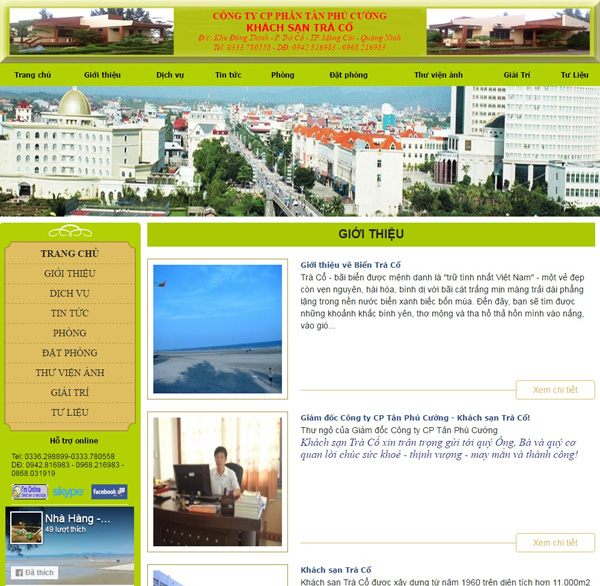 Thiết kế web tracohotel.com